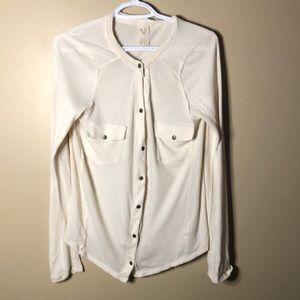 We the free snap raw hem shirt